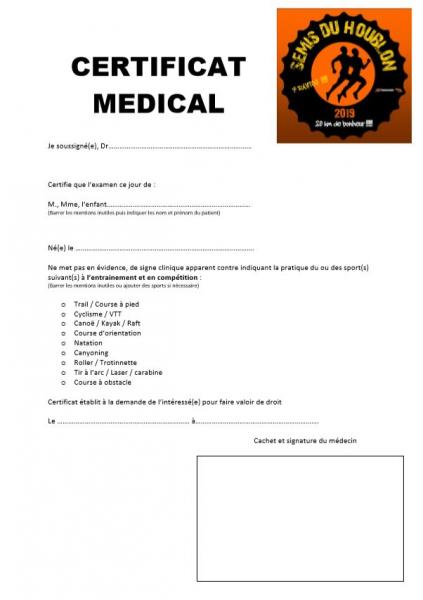 Certificat medical semis du houblon